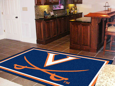 "NCAA Officially licensed University of Virginia 5x8 Rug 59.5""x88"" Show off your team pride in a big way! 5'x8' ultra plush a"