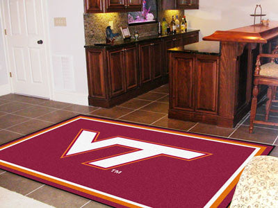 "NCAA Officially licensed Virginia Tech 5x8 Rug 59.5""x88"" Show off your team pride in a big way! 5'x8' ultra plush area rugs"