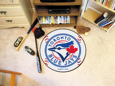 "MLB Officially licensed products Toronto Blue Jays Baseball Mat 27"" diameter Protect your floor in style and show off your f"