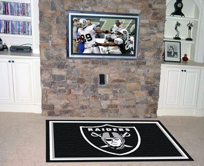 NFL Officially licensed products Oakland Raiders 5'x8' Rug Show off your team pride in a big way! 5'x8' ultra plush area rug