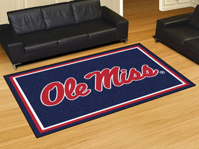 "NCAA Officially licensed University of Mississippi (Ole Miss) 5x8 Rug 59.5""x88"" Show off your team pride in a big way! 5'x8'"