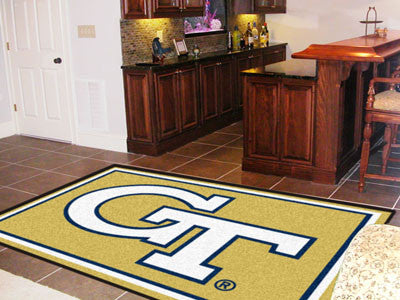 "NCAA Officially licensed Georgia Tech 5x8 Rug 59.5""x88"" Show off your team pride in a big way! 5'x8' ultra plush area rugs w"