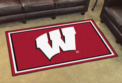 "NCAA Officially licensed University of Wisconsin 4x6 Rug 44""x71"" Show off your team pride in a big way! 4'x6' ultra plush ar"