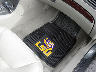 "NCAA Officially licensed Louisiana State University 2-pc Vinyl Car Mat Set 17""x27"" Add style to your ride with heavy duty Vi"