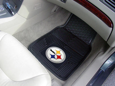 "NFL Officially licensed products Pittsburgh Steelers 2-pc Vinyl Car Mats 17""x27"" Add style to your ride with heavy duty Viny"