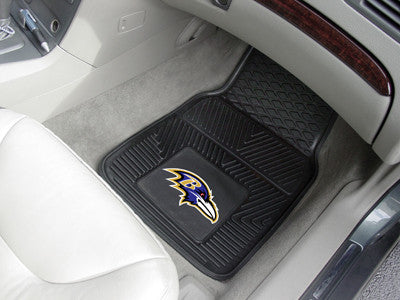 "NFL Officially licensed products Baltimore Ravens 2-pc Vinyl Car Mats 17""x27"" Add style to your ride with heavy duty Vinyl C"