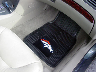 "NFL Officially licensed products Denver Broncos 2-pc Vinyl Car Mats 17""x27"" Add style to your ride with heavy duty Vinyl Car"