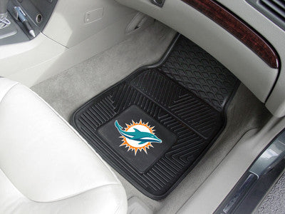 "NFL Officially licensed products Miami Dolphins 2-pc Vinyl Car Mats 17""x27"" Add style to your ride with heavy duty Vinyl Car"