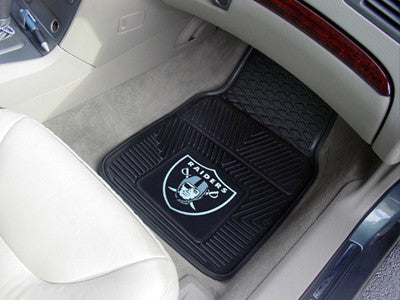 "NFL Officially licensed products Oakland Raiders 2-pc Vinyl Car Mats 17""x27"" Add style to your ride with heavy duty Vinyl Ca"