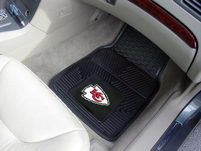 "NFL Officially licensed products Kansas City Chiefs 2-pc Vinyl Car Mats 17""x27"" Add style to your ride with heavy duty Vinyl"
