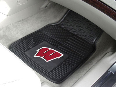 "NCAA Officially licensed University of Wisconsin 2-pc Vinyl Car Mat Set 17""x27"" Add style to your ride with heavy duty Vinyl"