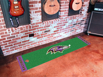 "NFL Officially licensed products Baltimore Ravens Putting Green Runner 18""x72""  Become a pro and perfect your short game wit"