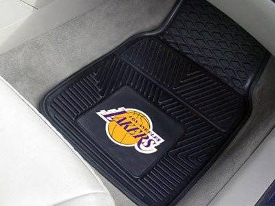 "NBA Officially licensed products Los Angeles Lakers 2-pc Vinyl Car Mats 17""x27"" Add style to your ride with heavy duty Vinyl"
