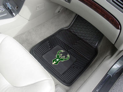 "NBA Officially licensed products Milwaukee Bucks 2-pc Vinyl Car Mats 17""x27"" Add style to your ride with heavy duty Vinyl Ca"