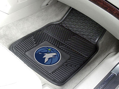 "NBA Officially licensed products Minnesota Timberwolves 2-pc Vinyl Car Mats 17""x27"" Add style to your ride with heavy duty V"