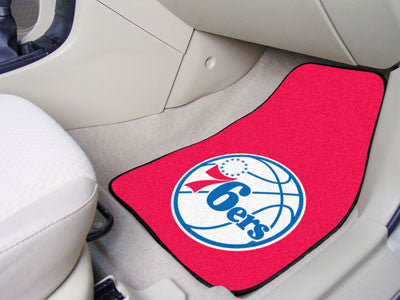 "NBA Officially licensed products Philadelphia 76ers 2-pc Carpeted Car Mats 17""x27"" Show your fandom even while driving with"