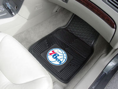"NBA Officially licensed products Philadelphia 76ers 2-pc Vinyl Car Mats 17""x27"" Add style to your ride with heavy duty Vinyl"