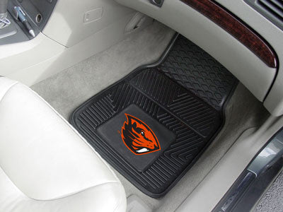 "NCAA Officially licensed Oregon State University 2-pc Vinyl Car Mat Set 17""x27"" Add style to your ride with heavy duty Vinyl"