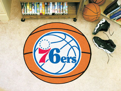 "NBA Officially licensed products Philadelphia 76ers Basketball Mat 27"" diameter  Protect your floor in style and show off yo"