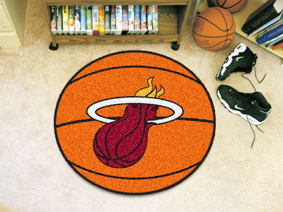 "NBA Officially licensed products Miami Heat Basketball Mat 27"" diameter  Protect your floor in style and show off your fando"