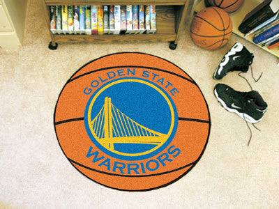 "NBA Officially licensed products Golden State Warriors Basketball Mat 27"" diameter  Protect your floor in style and show off"