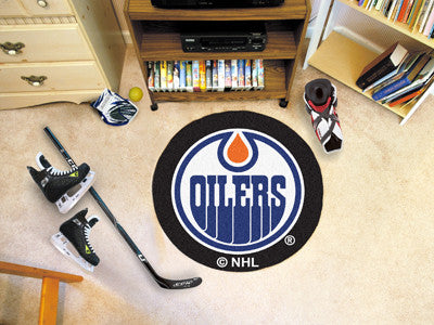 "NHL Officially licensed products Edmonton Oilers Puck Mat 27"" diameter  Protect your floor in style and show off your fandom"