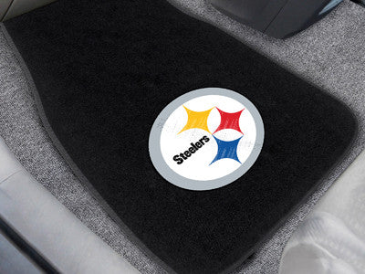 "NFL Officially licensed products Pittsburgh Steelers 2-pc Embroidered Car Mats 18""x27"" Protect the interior of your vehicle"