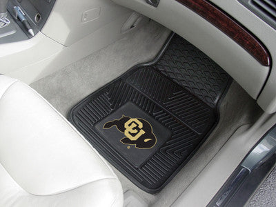 "NCAA Officially licensed University of Colorado 2-pc Vinyl Car Mat Set 17""x27"" Add style to your ride with heavy duty Vinyl"