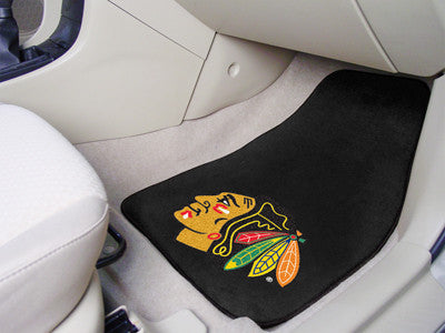 "NHL Officially licensed products Chicago Blackhawks 2-pc Printed Carpet Car Mats 17""x27"" Show your fandom even while driving"