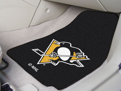 "NHL Officially licensed products Pittsburgh Penguins 2-pc Printed Carpet Car Mats 17""x27"" Show your fandom even while drivin"
