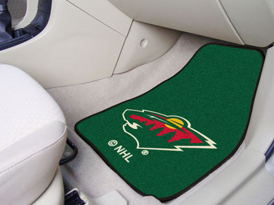 "NHL Officially licensed products Minnesota Wild 2-pc Printed Carpet Car Mats 17""x27"" Show your fandom even while driving wit"