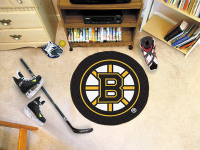 "NHL Officially licensed products Boston Bruins Puck Mat 27"" diameter  Protect your floor in style and show off your fandom w"