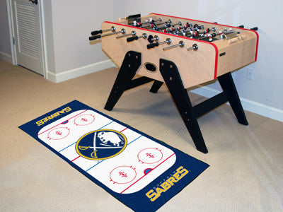 "NHL Officially licensed products Buffalo Sabres Rink Runner 30""x72"" The ice might be cool but these hockey Rink Runners are"