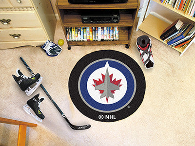 "NHL Officially licensed products Winnipeg Jets Puck Mat 27"" diameter Protect your floor in style and show off your fandom wi"