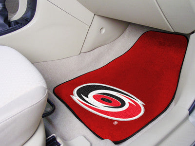 "NHL Officially licensed products Carolina Hurricanes 2-pc Printed Carpet Car Mats 17""x27"" Show your fandom even while drivin"