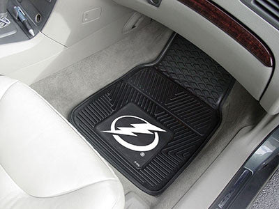 "NHL Officially licensed products Tampa Bay Lightning  2-pc Vinyl Car Mats 17""x27"" Add style to your ride with heavy duty Vin"