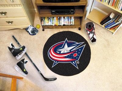 "NHL Officially licensed products Columbus Blue Jackets Puck Mat 27"" diameter  Protect your floor in style and show off your"