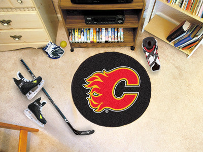 "NHL Officially licensed products Calgary Flames Puck Mat 27"" diameter  Protect your floor in style and show off your fandom"
