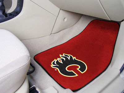 "NHL Officially licensed products Calgary Flames 2-pc Printed Carpet Car Mats 17""x27"" Show your fandom even while driving wit"