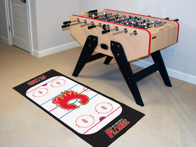 "NHL Officially licensed products Calgary Flames Rink Runner 30""x72"" The ice might be cool but these hockey Rink Runners are"