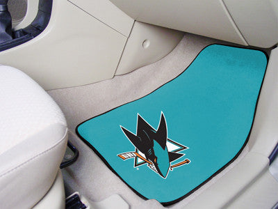 "NHL Officially licensed products San Jose Sharks 2-pc Printed Carpet Car Mats 17""x27"" Show your fandom even while driving wi"
