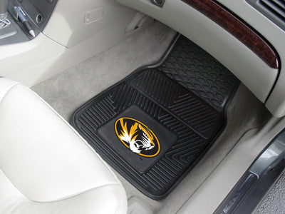 "NCAA Officially licensed University of Missouri 2-pc Vinyl Car Mat Set 17""x27"" Add style to your ride with heavy duty Vinyl"