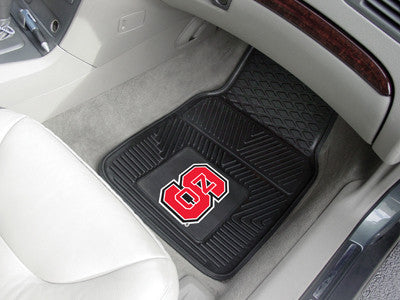 "NCAA Officially licensed North Carolina State University 2-pc Vinyl Car Mat Set 17""x27"" Add style to your ride with heavy du"