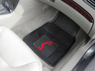 "NCAA Officially licensed University of Cincinnati 2-pc Vinyl Car Mat Set 17""x27"" Add style to your ride with heavy duty Viny"