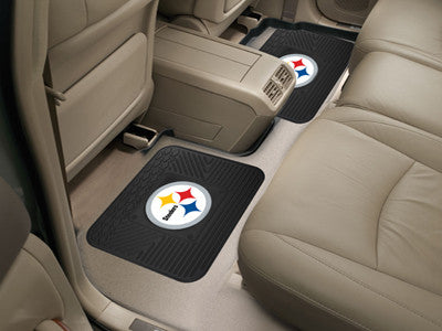 "NFL Officially licensed products Pittsburgh Steelers 2-pc Utility Mat 14""x17"" Boast your team colors with backseat Utility M"