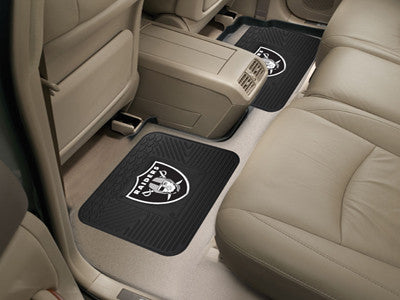 "NFL Officially licensed products Oakland Raiders 2-pc Utility Mat 14""x17"" Boast your team colors with backseat Utility Mats"