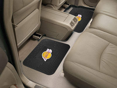 "NBA Officially licensed products Los Angeles Lakers 2-pc Utility Mat 14""x17"" Boast your team colors with backseat Utility Ma"