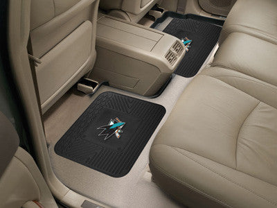 "NHL Officially licensed products San Jose Sharks 2-pc Utility Mat 14""x17"" Boast your team colors with backseat Utility Mats"