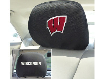 "NCAA Officially licensed University of Wisconsin Head Rest Cover 10""x13"" Show off your team pride and protect your vehicles"