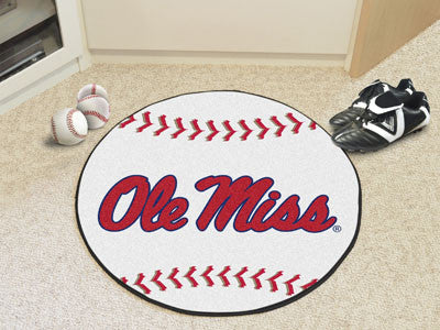 "NCAA Officially licensed University of Mississippi (Ole Miss) Baseball Mat 27"" diameter Protect your floor in style and show"